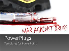 PowerPlugs: PowerPoint template with close up view of a syringe with blood and a text spelling out some words