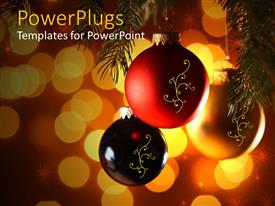 PowerPoint template displaying close up view of three black, red and gold colored Christmas balls