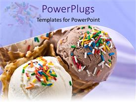 PowerPoint template displaying a close up view of three ice cream cones