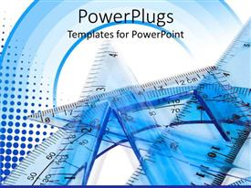 PowerPoint template displaying a close up view of some tools on a plain blue and white surface