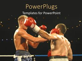 PowerPlugs: PowerPoint template with a close up view of two boxers exchanging blows in a boxing ring