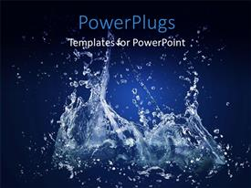 PowerPlugs: PowerPoint template with close up view of water splashing on a blue background