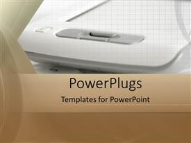 PowerPlugs: PowerPoint template with a close up view of a white equipment on a brown surface