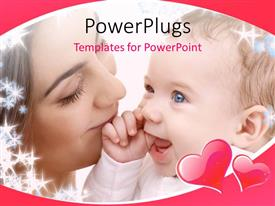 PowerPlugs: PowerPoint template with close up view of a woman holding her smiling baby