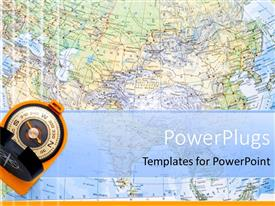 PowerPoint template displaying a close up view of the world map with a compass