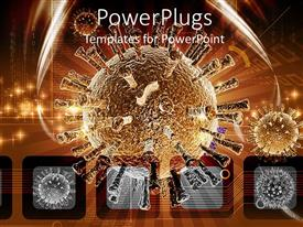 PowerPlugs: PowerPoint template with close up of viruses on brown and gray background