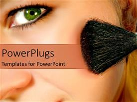 PowerPlugs: PowerPoint template with close up of woman face applying blush on cheek