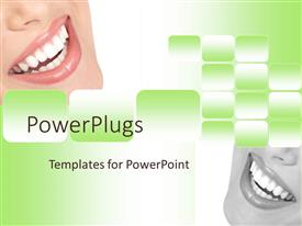 PowerPoint template displaying close up of woman smile, beautiful smile with white teeth