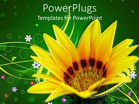 PowerPlugs: PowerPoint template with close up of yellow sunflower on abstract pattern with green background