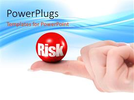 PowerPlugs: PowerPoint template with closed hand outstretched finger holding red ball with RISK in white letters