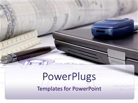 PowerPoint template displaying closed laptop, mobile phone, pen, ruler, blueprint papers and rolled papers