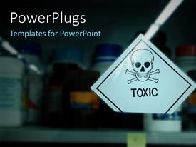 PowerPlugs: PowerPoint template with closet with toxic materials in different bottles
