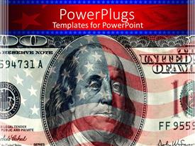 PowerPlugs: PowerPoint template with a closeup of dollar note with American flag in the background
