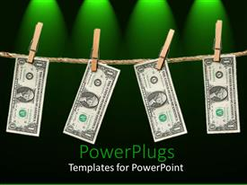 PowerPlugs: PowerPoint template with clothespins holding one dollar bills hanging from rope