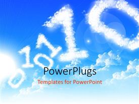 PowerPlugs: PowerPoint template with cloud forming zeros and ones in blue sky