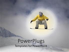 PowerPoint template displaying cloudy sky in background as snowboarder in yellow jumps on snowy mountain