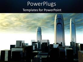 PowerPlugs: PowerPoint template with cloudy sky with depiction of futuristic city