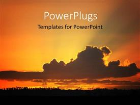 PowerPlugs: PowerPoint template with cloudy sky reflecting in water with sunset on horizon