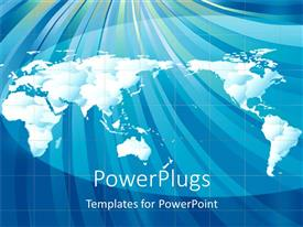 PowerPlugs: PowerPoint template with cloudy world map with white continents on blue background