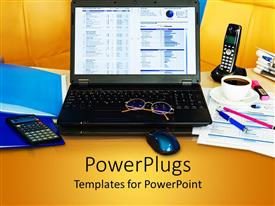 PowerPlugs: PowerPoint template with cluttered office desk with laptop, phone, papers, calculator and stationery
