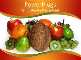 PowerPoint template displaying coconut, apples, pears, kiwi, grapes, oranges on white background