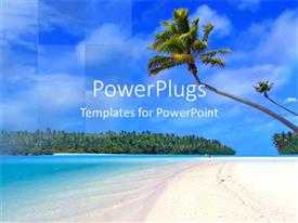 PowerPoint template displaying coconut tree on beach, sand, ocean, blue sky