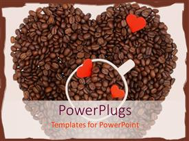 PPT featuring coffee beans making heart shape with a cup in the middle