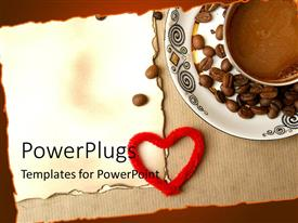 PowerPoint template displaying coffee and coffee beans in white saucer over old menu paper