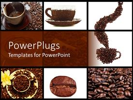 PowerPoint template displaying coffee collage in brown and white with cups, coffee beans, white flower