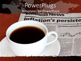 PowerPlugs: PowerPoint template with coffee cup on business section of newspaper