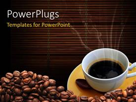 PowerPlugs: PowerPoint template with a coffee cup with a number of coffee beans