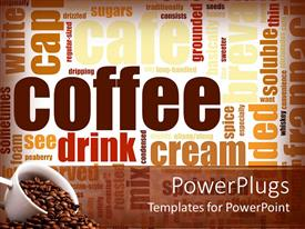 PowerPoint template displaying coffee grains abstract background collage of coffee ingredients