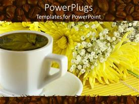 PowerPlugs: PowerPoint template with coffee in white cup on saucer next to yellow flowers