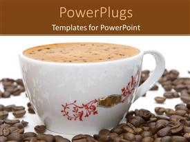 PowerPoint template displaying coffee in white mug surrounded by coffee beans on white surface
