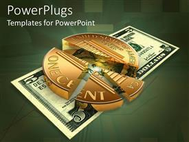 PowerPlugs: PowerPoint template with a coin in the form of a pie chart with dollar note underneath