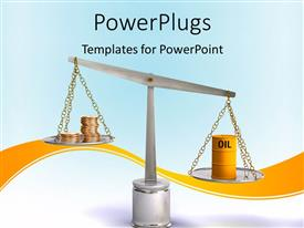 PowerPoint template displaying coins and oil drum on a balance, Digital depiction