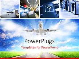PowerPlugs: PowerPoint template with collage of airplane interior with airplane taking off into blue cloudy sky