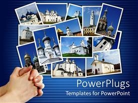 PowerPlugs: PowerPoint template with collage of ancient orthodox churches on display on blue background