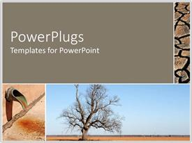 PowerPlugs: PowerPoint template with collage of arid scenes, cracked earth, downspout, bare tree