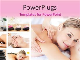 PowerPlugs: PowerPoint template with collage of beautiful woman in massage parlor with spa stones
