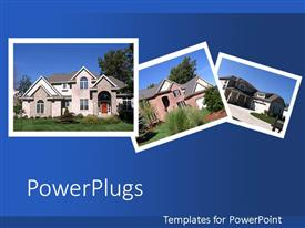PowerPlugs: PowerPoint template with collage of beautiful houses on blue background