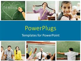 PowerPlugs: PowerPoint template with collage of beautiful students and teacher learning in school