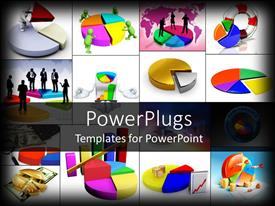 PowerPlugs: PowerPoint template with collage of business depictions with pie charts and business professionals