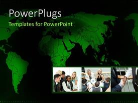 PowerPlugs: PowerPoint template with collage of business meetings over green themed world map