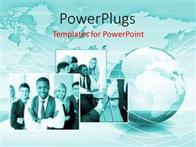 PowerPlugs: PowerPoint template with collage of business men and earth globe over world map