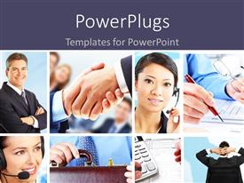 PowerPlugs: PowerPoint template with collage of business people and scenarios with dark blue text area