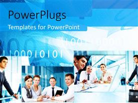 PowerPlugs: PowerPoint template with collage of business professionals with binary numbers in background
