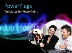 PowerPlugs: PowerPoint template with collage of business professionals with binary numbers in black background