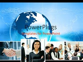 PowerPoint template displaying collage of business professionals with blue globe over world map