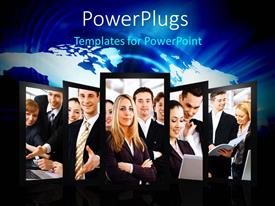 PowerPlugs: PowerPoint template with collage of business professionals over world map in blue background